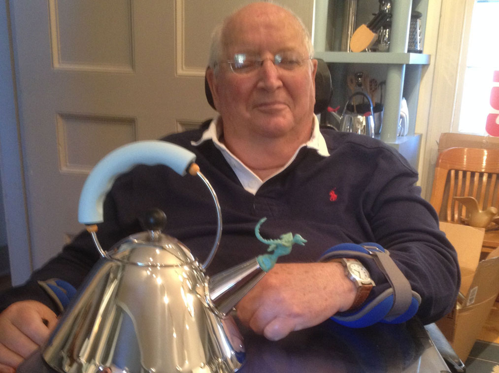 Michael Graves with the finished Tea-Rex Kettle