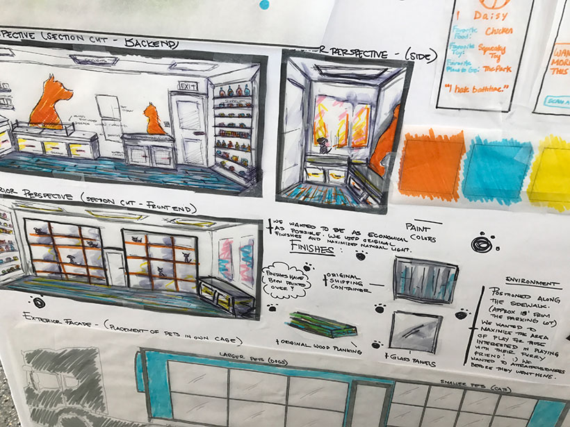 Detail of one of many design presentation boards.