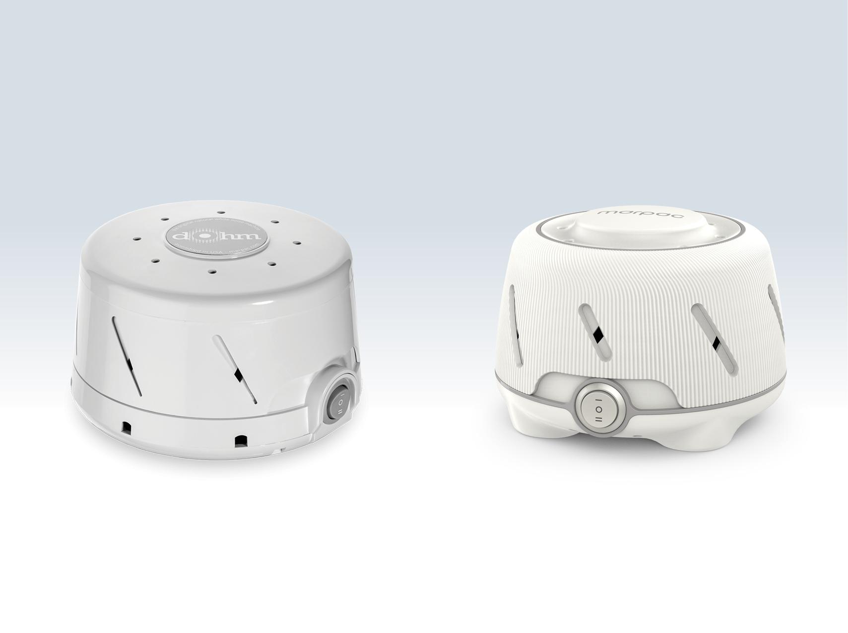 Marpac Dohm original design (left) and 2017 redesign (right).
