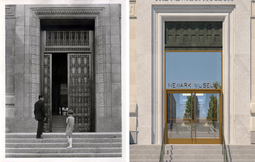 Historic Photo of Newark Entrance (left), Entrance Rendering (right)